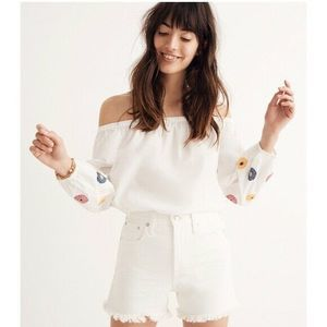 Madewell White Embroidered Off-The-Shoulder Top